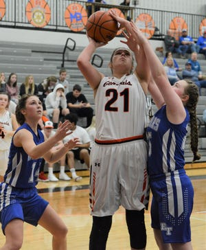 Ridgewood's Kelsie Stephens goes up for a shot against two Buckeye Trail defenders in a game last season. Stephens, an All-IVC and District 5 selection, is one of several returning players who are key to the Generals' success.