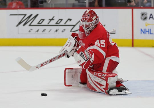 Detroit Red Wings goaltender Jonathan Bernier makes a save against the Ottawa Senators during the second period Friday, Jan. 10, 2019 at Little Caesars Arena.