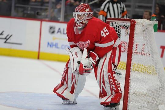 Jonathan Bernier in net against the Senators on Friday, Jan. 10 at Little Caesars Arena.
