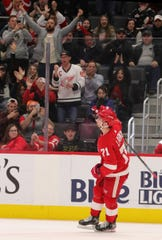 Dylan Larkin reacts after scoring the winner in the shootout against the Senators during the shootout Friday.