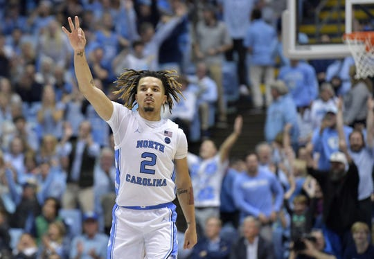 UNC's Cole Anthony reacts after making a 3-pointer against Notre Dame on Nov. 6, 2019 in Chapel Hill, N.C.
