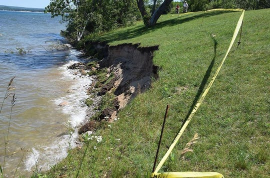 A look at erosion as a result of increased water levels from late 2019 at Bayfront Park in Petoskey.