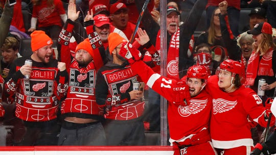 Detroit Red Wings center Dylan Larkin, left, celebrates his goal with Tyler Bertuzzi in the second period.