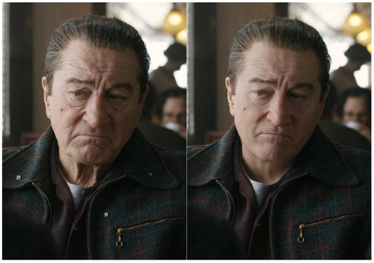 """This combination of photos shows actor Robert De Niro, left, during the filming of """"The Irishman"""" and the younger version of De Niro created by Pablo Helman, visual effects supervisor at Industrial Light and Magic."""