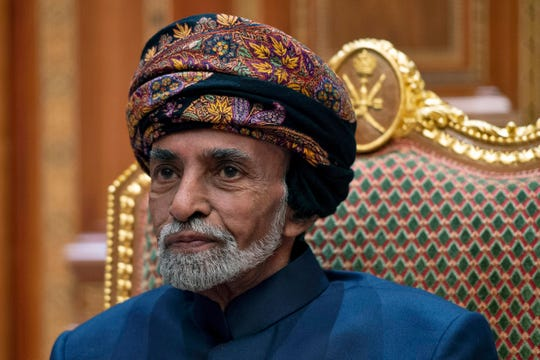 FILE - In this Monday, Jan. 14, 2019 file photo, Sultan of Oman Qaboos bin Said sits during a meeting with Secretary of State Mike Pompeo at the Beit Al Baraka Royal Palace in Muscat, Oman.