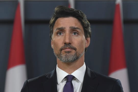 Canada Prime Minister Justin Trudeau responds to questions during a news conference at the National Press building in Ottawa, Thursday Jan. 9, 2020.