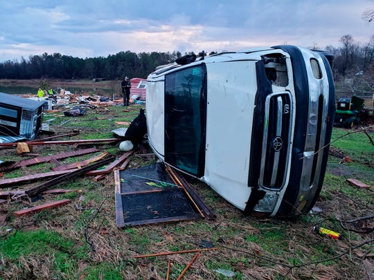 This photo provided by Bossier Parish Sheriff's Office shows damage from Friday nights severe weather on Saturday, Jan. 11, 2020.