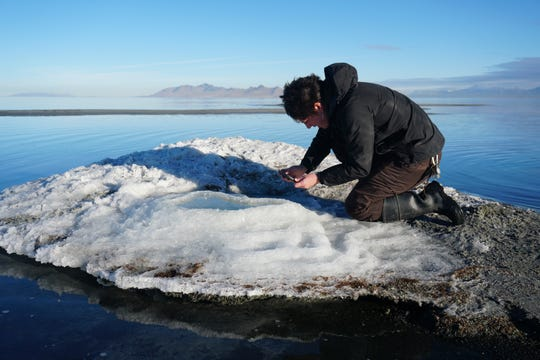 In this undated photo provided by the Utah Division of Parks and Recreation, are rare salt formations that are being are being documented for the first time along the shores of the Great Salt Lake in Utah.