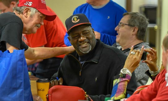 Hall of Fame pitcher, Lee Smith gets his picture taken with a fan at the Night of Memories held at the Vanderburgh 4-H Center Saturday evening. The year's lineup features Keith Hernandez, Lilly King, Lee Smith, Jerad Eickhoff and Bob Griese, January 11, 2020.