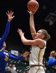 Colorado State women's basketball player Annie Brady, shown in a Jan. 11 game against San Jose State at Moby Arena, had 11 points and eight rebounds for the Rams on Saturday in a 56-55 win over visiting Utah State.