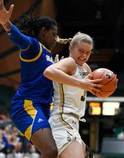 CSU's Annie Brady, playing against San Jose State on Jan. 11, 2020, at Moby Arena. The women's basketball team was one of 4 CSU teams to earn perfect scores in the NCAA's Academic Progress Rate for the multiyear period ending with 2018-19, according to figures released Tuesday.