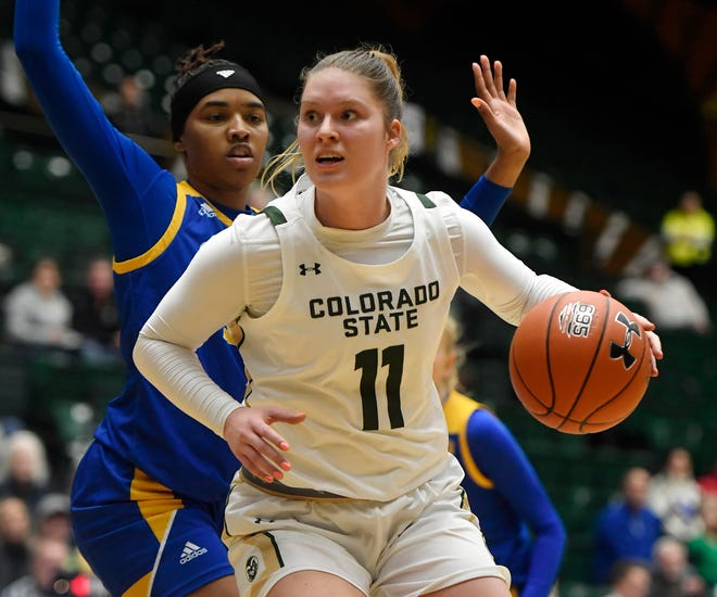 CSUforward Makenzie Ellis (11) dribbles around defenders against San Jose State on Jan. 11. Ellis scored 19 points and grabbed 8 rebounds vs. Air Force on Saturday as the Rams won 60-40.