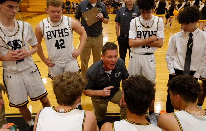Bishop Verot High School Boys basketball coach Matt Herting's speaks to his players during a timeout, as his team faced Canterbury School, Friday, 01/10/20.