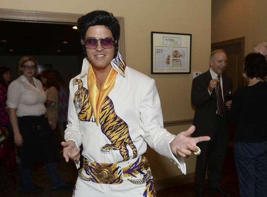 The LSU Elvis, resplendent in his LSU Tiger Elvis suit.