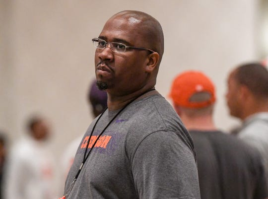 Clemson defensive line coach Todd Bates during Clemson practice at their team hotel ballroom in New Orleans, Louisiana Friday, January 11, 2020.