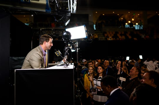 Clemson Head Coach Dabo Swinney answers questions during CFP media day at the Xavier University Convocation Center Saturday, Jan. 11, 2020.