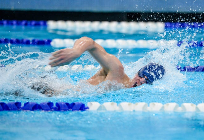 Great Falls High's Ben Woldtvedt swims in the 200 yard freestyle event during Friday's swim meet against CMR, Helena High and Capital High.