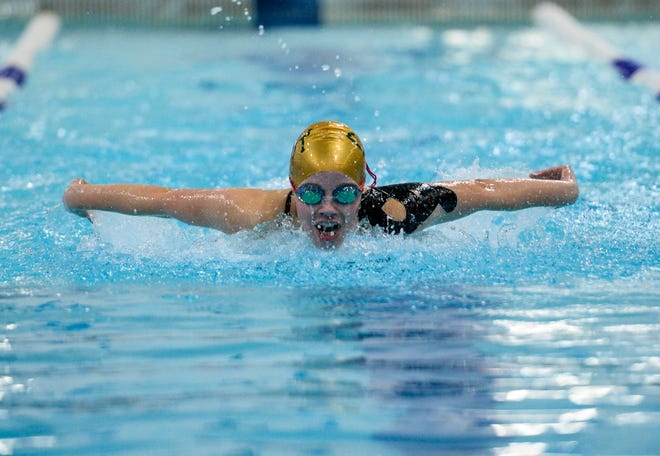 CMR's Paige LePard swims the butterfly in the 200 yard medley relay at a swim meet against Great Falls High, Helena High and Capital High last weekend.