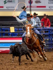 Haven Meged competes in the tie-down roping event during the Montana Pro Rodeo Circuit Finals in the Four Seasons Arena, Friday, January 10, 2020.