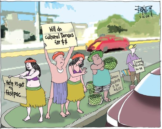 Sunday cartoon on FestPac funding.