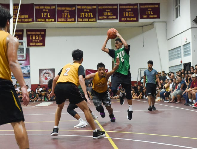 The Father Duenas Friars dominated the John F. Kennedy Islanders 77-47 in the 2020 GSPN Preseason Basketball Tournament championship game at the Father Duenas Memorial School Gym in Mangilao, Jan. 10, 2020. The teams will meet at least one other time on Feb. 8, when FD hosts JFK in interleague play.