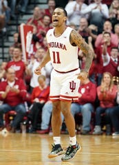 Indiana Hoosiers guard Devonte Green (11) celebrates after a play during the game against Ohio State at Simon Skjodt Assembly Hall in Bloomington, Ind., on Saturday, Jan. 11, 2020.