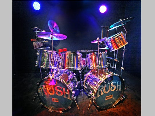 "This historic drum kit was displayed at the Rhythm Discovery Center in Indianapolis from 2013 to 2015. Neil Peart played the chrome-finish Slingerland kit during the recording of Rush albums ""Fly By Night,"" ""Caress of Steel"" and 2112."""