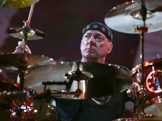 Drummer Neil Peart is seen during Rush's final performance in Indianapolis: Sept. 13, 2012 at Bankers Life Fieldhouse.