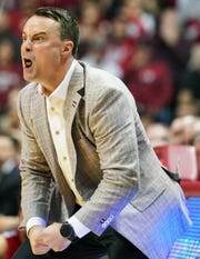 Indiana Hoosiers coach Archie Miller yells at his team during the game Saturday against Ohio State at Simon Skjodt Assembly Hall in Bloomington, Indiana.