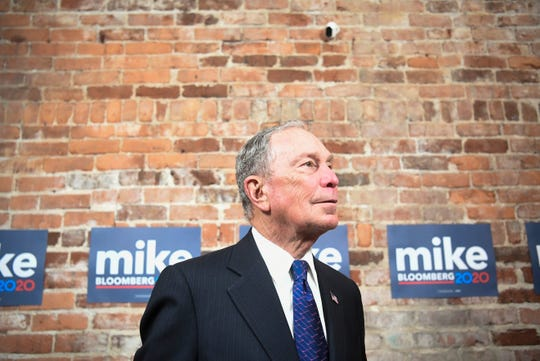 Democratic presidential candidate Mike Bloomberg speaks to the media at his new campaign office in Knoxville, Friday, Jan. 10, 2020.