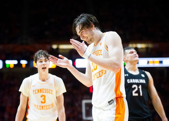 Tennessee's John Fulkerson (10) reacts after a play during the Tennessee and South Carolina basketball game on Saturday, January 11, 2020 at Thompson-Boilng Arena.