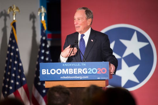 Democratic presidential candidate Mike Bloomberg speaks to a crowd at his new campaign office in Knoxville, Friday, Jan. 10, 2020.