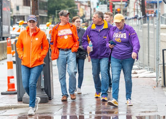 LSU and Clemson fans around the city in New Orleans for the 2020 College Football Playoff National Championship, Saturday, Jan. 11, 2020.