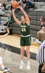 Howell's Meagan Tucker makes one of her five 3-pointers in a 59-40 victory at Plymouth on Friday, Jan. 10, 2020.