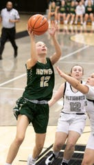 Howell's Molly Deurloo makes a layup in a 59-40 victory at Plymouth on Friday, Jan. 10, 2020.