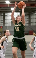 Kaylee Wendel of Howell shoots in the fourth period of the game at Plymouth Friday, Jan. 10, 2020.