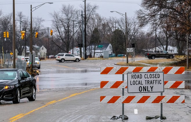 The intersection of Martin Luther King Jr. Blvd. and Edgewood Blvd. is blocked off due to flooding Saturday, Jan. 11, 2020.