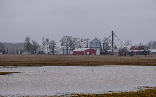A farmer's field in St. Johns is turned into a lake as rain continues in the Lansing area Saturday, Jan. 11, 2020.