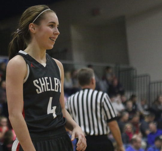 Shelby's Sophie Neise is all smiles thanks to her team's perfect 13-0 record.