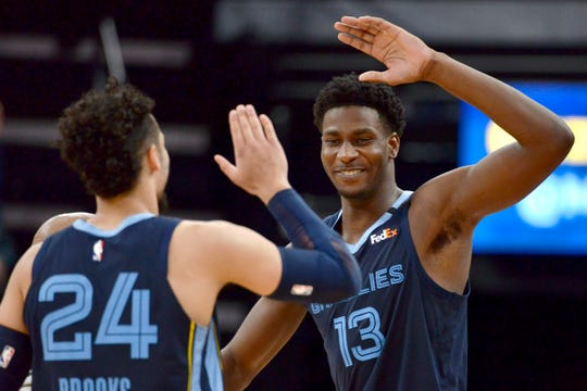 Memphis Grizzlies forward Jaren Jackson Jr. (13) and guard Dillon Brooks (24) high-five in the second half of an NBA basketball game against the San Antonio Spurs, Friday, Jan. 10, 2020, in Memphis, Tenn. (AP Photo/Brandon Dill)