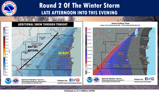Mosw estimates for Saturday's winter storm drop.