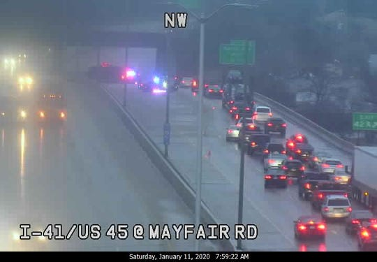 This freeway camera image shows the scene of a crash on I-41 northbound near Mayfair Road on Saturday morning. Freezing rain/drizzle was creating slick conditions on area roadways.