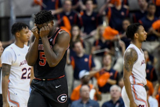 Georgia guard Anthony Edwards (5) reacts to a foul against Auburn on Saturday, Jan. 11 2020, in Auburn, Ala.