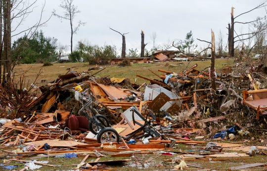 A tornado devastated homes along Settlement Rd. near Carrollton in Pickens County, Ala., killing three people Saturday, Jan. 11, 2020 as a line of strong thunderstorms swept through the southeastern United States. [Staff Photo/Gary Cosby Jr.]