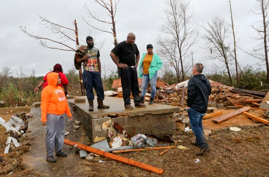 A tornado devastated homes along Settlement Rd. near Carrollton in Pickens County, Ala., killing three people Saturday, Jan. 11, 2020 as a line of strong thunderstorms swept through the southeastern United States. Larry Jones talks to Sheriff Todd Hall. Jones' home was spared but he located the fatalities as he helped search for his neighbors. [Staff Photo/Gary Cosby Jr.]