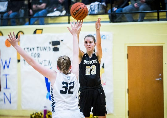 Daleville's Heather Pautler shoots past Cowan's defense during their game at Cowan High School Friday, Jan. 10, 2020.