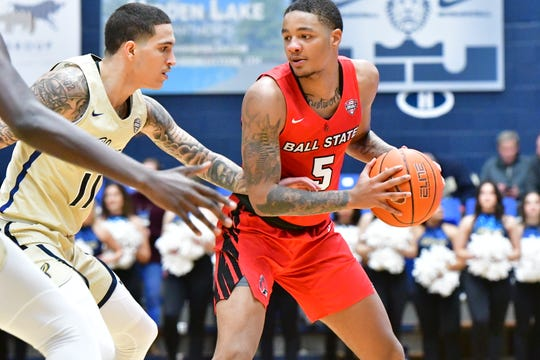 Ball State junior guard Ishmael El-Amin competes during the Cardinals' game against Akron.