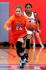 Blackman forward Kaylee Odom (24) scored 20 points and pulled down eight rebounds against her former team, Stewarts Creek, on Friday.