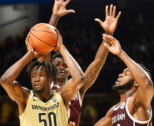 Vanderbilt forward Ejike Obinna (50) looks to pass as Vanderbilt plays Texas AM at Memorial Gym in Nashville, Tenn. Saturday, Jan. 11, 2020.