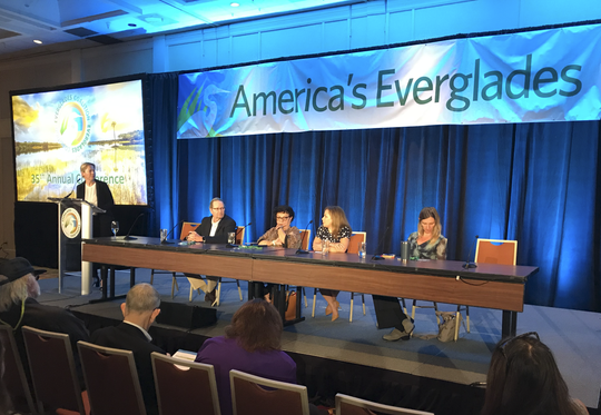 Panel members discuss climate change resliency in the Everglades ecosystem during the 35th Annual Everglades Coalition Conference on Capitva Jan. 11, 2020. Moderator Melissa Abdo (far left) led panelists from left to right: Nick Aumen, Caroline Lewis, Irela Bague and Tiffany Troxler.
